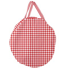Friendly Houndstooth Pattern,red Giant Round Zipper Tote
