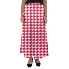 Friendly Houndstooth Pattern,red Flared Maxi Skirt