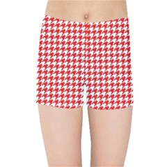 Friendly Houndstooth Pattern,red Kids Sports Shorts