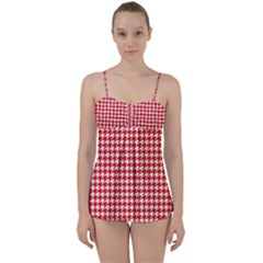 Friendly Houndstooth Pattern,red Babydoll Tankini Set