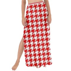 Friendly Houndstooth Pattern,red Maxi Chiffon Tie Up Sarong