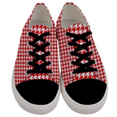 Friendly Houndstooth Pattern,red Men s Low Top Canvas Sneakers