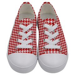 Friendly Houndstooth Pattern,red Kids  Low Top Canvas Sneakers