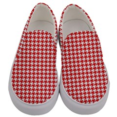Friendly Houndstooth Pattern,red Men s Canvas Slip Ons
