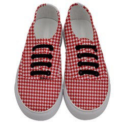 Friendly Houndstooth Pattern,red Men s Classic Low Top Sneakers