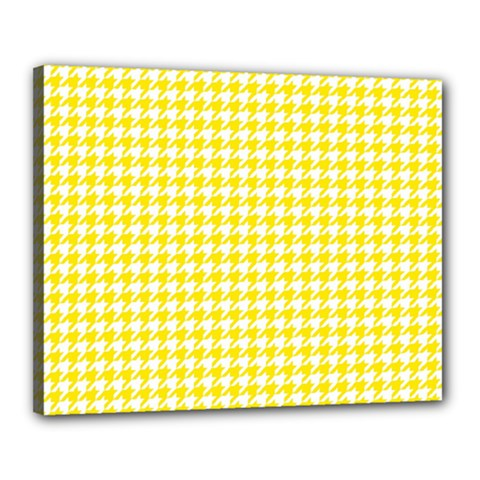 Friendly Houndstooth Pattern,yellow Canvas 20  X 16