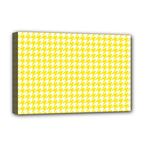 Friendly Houndstooth Pattern,yellow Deluxe Canvas 18  X 12