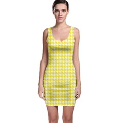 Friendly Houndstooth Pattern,yellow Bodycon Dress