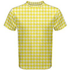 Friendly Houndstooth Pattern,yellow Men s Cotton Tee
