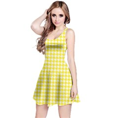 Friendly Houndstooth Pattern,yellow Reversible Sleeveless Dress