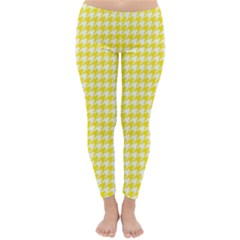 Friendly Houndstooth Pattern,yellow Classic Winter Leggings