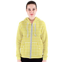 Friendly Houndstooth Pattern,yellow Women s Zipper Hoodie