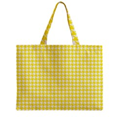 Friendly Houndstooth Pattern,yellow Zipper Mini Tote Bag
