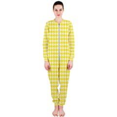 Friendly Houndstooth Pattern,yellow Onepiece Jumpsuit (ladies)