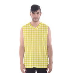 Friendly Houndstooth Pattern,yellow Men s Basketball Tank Top
