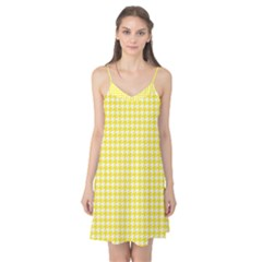 Friendly Houndstooth Pattern,yellow Camis Nightgown