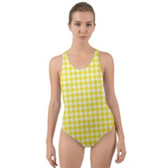 Friendly Houndstooth Pattern,yellow Cut Out Back One Piece Swimsuit