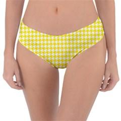 Friendly Houndstooth Pattern,yellow Reversible Classic Bikini Bottoms
