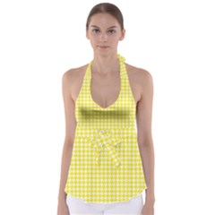 Friendly Houndstooth Pattern,yellow Babydoll Tankini Top