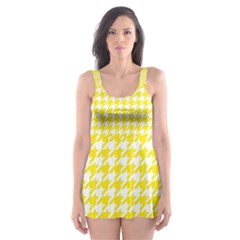 Friendly Houndstooth Pattern,yellow Skater Dress Swimsuit