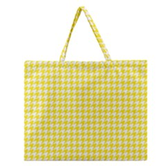Friendly Houndstooth Pattern,yellow Zipper Large Tote Bag