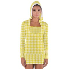 Friendly Houndstooth Pattern,yellow Long Sleeve Hooded T Shirt