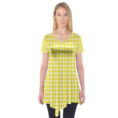 Friendly Houndstooth Pattern,yellow Short Sleeve Tunic
