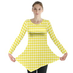 Friendly Houndstooth Pattern,yellow Long Sleeve Tunic