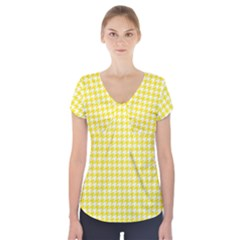 Friendly Houndstooth Pattern,yellow Short Sleeve Front Detail Top