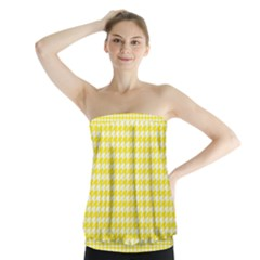 Friendly Houndstooth Pattern,yellow Strapless Top