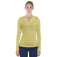 Friendly Houndstooth Pattern,yellow V Neck Long Sleeve Top