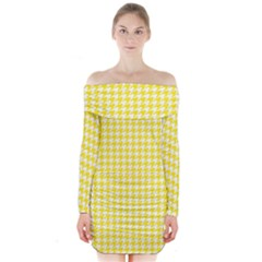 Friendly Houndstooth Pattern,yellow Long Sleeve Off Shoulder Dress