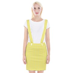 Friendly Houndstooth Pattern,yellow Braces Suspender Skirt