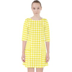 Friendly Houndstooth Pattern,yellow Pocket Dress