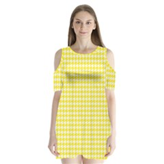 Friendly Houndstooth Pattern,yellow Shoulder Cutout Velvet One Piece