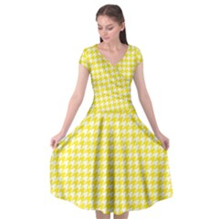 Friendly Houndstooth Pattern,yellow Cap Sleeve Wrap Front Dress