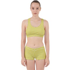 Friendly Houndstooth Pattern,yellow Work It Out Sports Bra Set