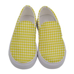Friendly Houndstooth Pattern,yellow Women s Canvas Slip Ons