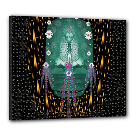 Temple Of Yoga In Light Peace And Human Namaste Style Canvas 24  X 20