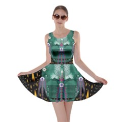 Temple Of Yoga In Light Peace And Human Namaste Style Skater Dress