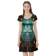 Temple Of Yoga In Light Peace And Human Namaste Style Short Sleeve Skater Dress