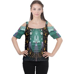 Temple Of Yoga In Light Peace And Human Namaste Style Cutout Shoulder Tee