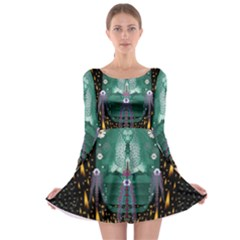 Temple Of Yoga In Light Peace And Human Namaste Style Long Sleeve Skater Dress