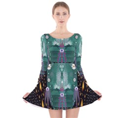 Temple Of Yoga In Light Peace And Human Namaste Style Long Sleeve Velvet Skater Dress