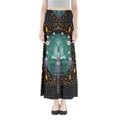 Temple Of Yoga In Light Peace And Human Namaste Style Full Length Maxi Skirt