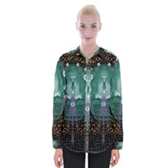 Temple Of Yoga In Light Peace And Human Namaste Style Womens Long Sleeve Shirt