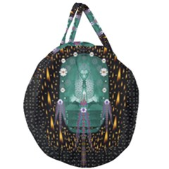 Temple Of Yoga In Light Peace And Human Namaste Style Giant Round Zipper Tote
