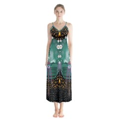 Temple Of Yoga In Light Peace And Human Namaste Style Button Up Chiffon Maxi Dress