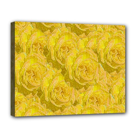 Summer Yellow Roses Dancing In The Season Canvas 14  X 11