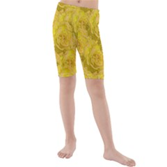 Summer Yellow Roses Dancing In The Season Kids  Mid Length Swim Shorts
